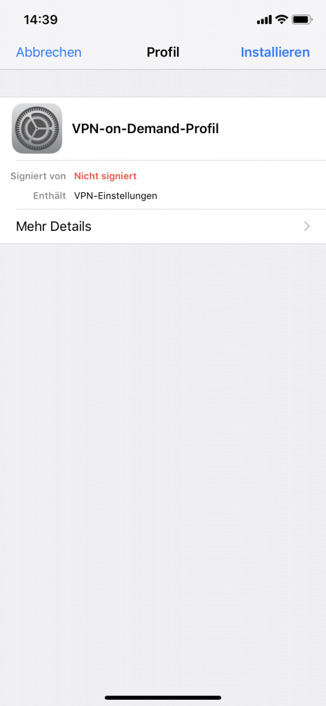 iPhone: VPN-on-Demand Profil installieren