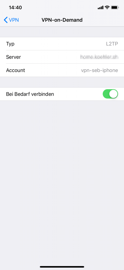iPhone: VPN-on-Demand Einstellungen