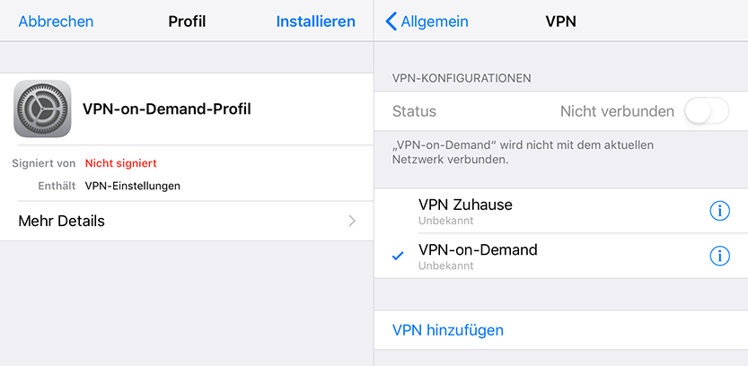 VPN-on-Demand auf dem iPhone