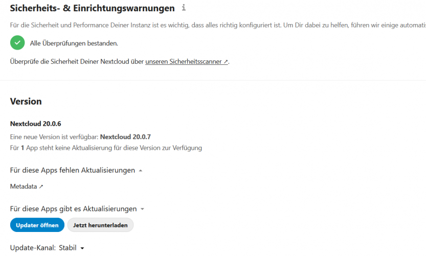 Nextcloud: ein Update steht an